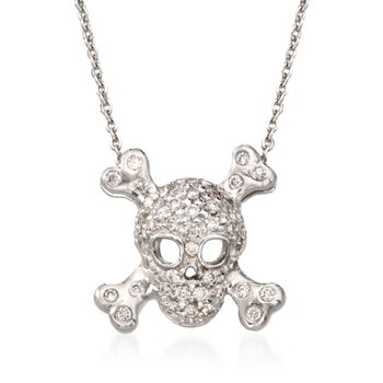 """Roberto Coin """"Tiny Treasures"""" .20 ct. t.w. Pave Diamond Skull and Crossbone Pendant Necklace in 18kt White Gold. 18"""", , default"""