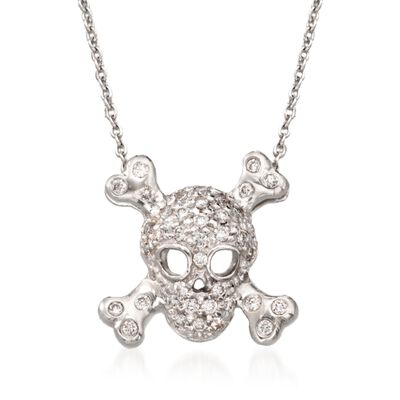"Roberto Coin ""Tiny Treasures"" .20 ct. t.w. Pave Diamond Skull and Crossbone Pendant Necklace in 18kt White Gold, , default"