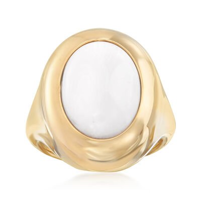 Andiamo 14kt Yellow Gold and White Agate Ring, , default