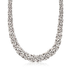 Italian Textured and Polished Sterling Silver Graduated Byzantine Necklace, , default