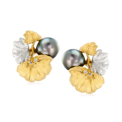 C. 1980 Vintage Black Cultured Pearl and .10 ct. t.w. Diamond Leaf Earrings in 18kt Yellow Gold and Platinum, , default