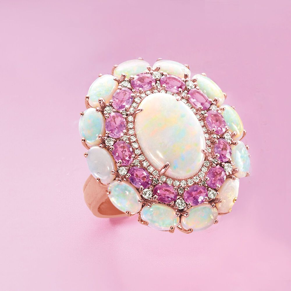 Opal and 2.20 ct. t.w. Pink Sapphire Ring With Diamonds in 14kt Rose ...