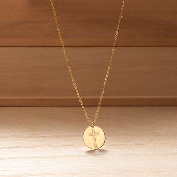 "Italian 14kt Yellow Gold Cross Cutout Disc Pendant Necklace. 18"", , default"