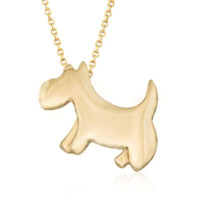 "Roberto Coin ""Tiny Treasures"" 18kt Yellow Gold Scottie Dog Pendant Necklace, , default"