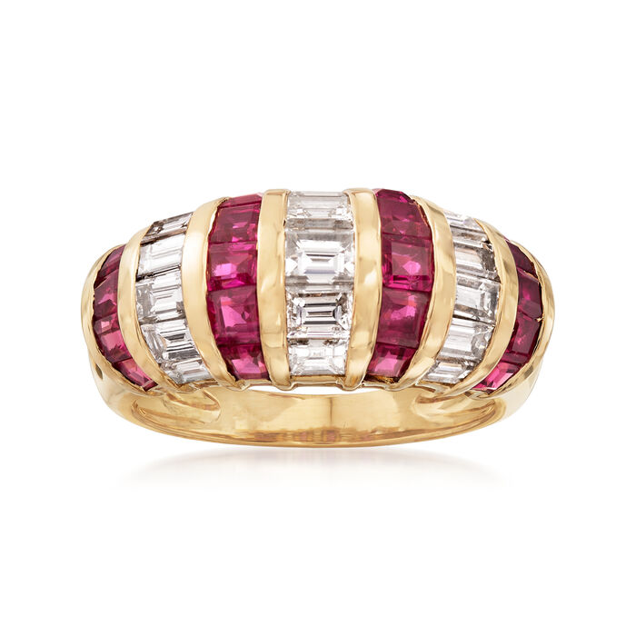 C. 1990 Vintage 1.78 ct. t.w. Ruby and 1.50 ct. t.w. Diamond Ring in 18kt Yellow Gold. Size 6, , default
