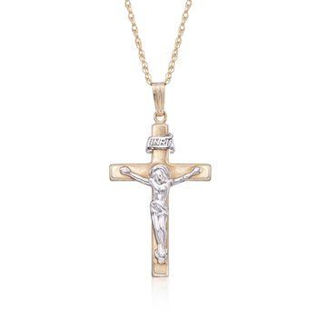 """Men's 14kt Two-Tone Gold Crucifix Pendant Necklace. 20"""", , default"""