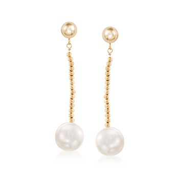 10-11mm Cultured Freshwater Pearl and Bead Drop Earrings in 14kt Yellow Gold, , default