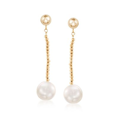 10-11mm Cultured Freshwater Pearl and Bead Drop Earrings in 14kt Yellow Gold , , default