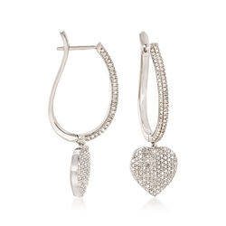1.00 ct. t.w. Pave Diamond Heart Earrings in Sterling Silver, , default