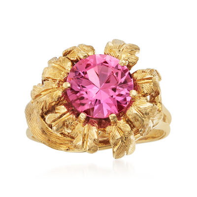 C. 1980 Vintage 2.15 Carat Synthetic Pink Sapphire Ring in 14kt Yellow Gold, , default
