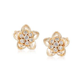 .20 ct. t.w. Diamond Flower Stud Earrings in 14kt Yellow Gold, , default