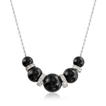 "6-10mm Graduated Black Onyx Bead and .37 ct. t.w. Diamond Spacer Necklace in Sterling Silver. 16"", , default"