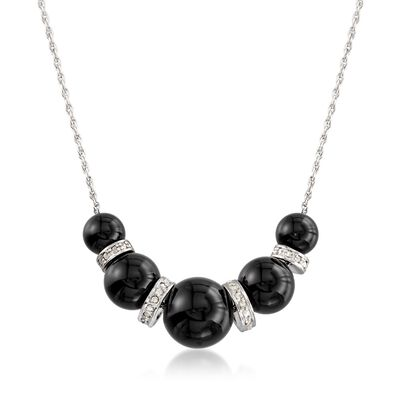 6-10mm Graduated Black Onyx Bead and .37 ct. t.w. Diamond Spacer Necklace in Sterling Silver, , default