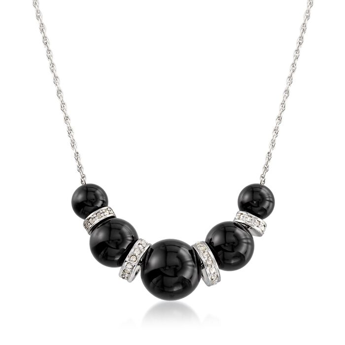 """6-10mm Graduated Black Onyx Bead and .37 ct. t.w. Diamond Spacer Necklace in Sterling Silver. 16"""", , default"""