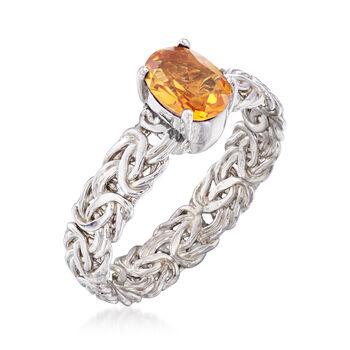 .80 Carat Citrine Byzantine Ring in Sterling Silver, , default