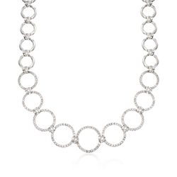 "C. 1990 Vintage 3.17 ct. t.w. Diamond Open Circle-Link Necklace in 18kt White Gold. 16"", , default"