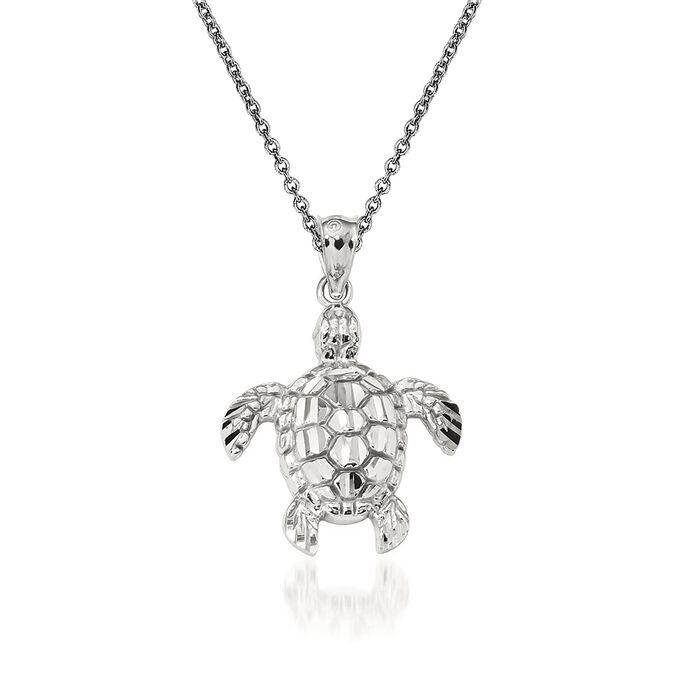 "14kt White Gold Sea Turtle Pendant Necklace. 18"""