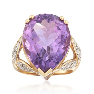 C. 1980 Vintage 15.75 Carat Amethyst and .35 ct. t.w. Diamond Ring in 14kt Yellow Gold, , default