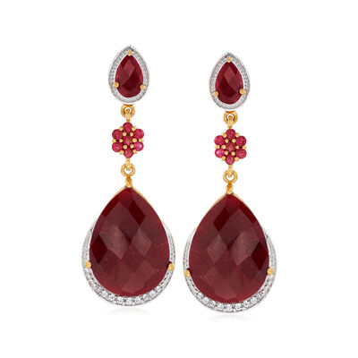 36.28 ct. t.w. Ruby and .31 ct. t.w. White Topaz Drop Earrings in 18kt Gold Over Sterling