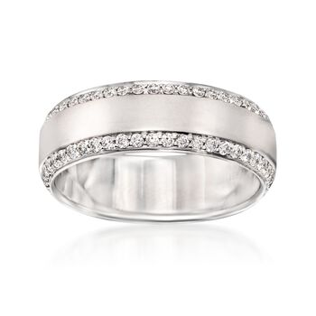 Henri Daussi Men's .80 ct. t.w. Diamond Wedding Ring in 14kt White Gold. Size 10, , default