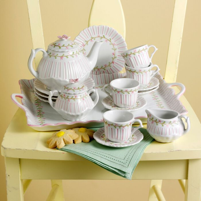 Child's Porcelain Rose Pinstripe Tea Set, , default