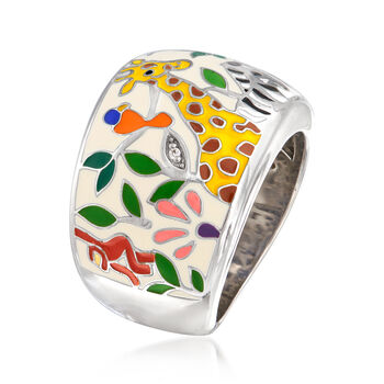 "Belle Etoile ""Serengeti"" Ivory and Multicolored Enamel Ring with CZ Accents in Sterling Silver. Size 7, , default"