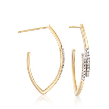 ".17 ct. t.w. Diamond Angular Hoop Earrings in 18kt Yellow Gold. 1"", , default"