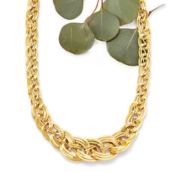 Italian 18kt Yellow Gold Interlocking Link Necklace