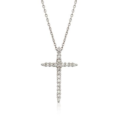 Roberto Coin .10 ct. t.w. Diamond Cross Necklace in 18kt White Gold    , , default