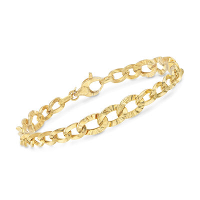 Italian Multi-Oval Link Bracelet in 14kt Yellow Gold, , default