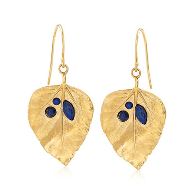 Lapis Leaf Earrings in 18kt Gold Over Sterling, , default