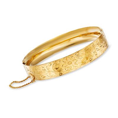 C. 1970 Vintage 14kt Yellow Gold Bangle Bracelet with Floral Engravings, , default