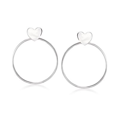 Italian Sterling Silver Jewelry Set: Heart Earrings and Circle Earring Jackets, , default