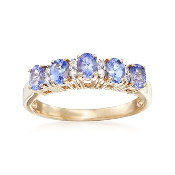 .80 ct. t.w. Tanzanite Ring With Diamond Accents in 14kt Yellow Gold, , default