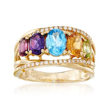 2.80 ct. t.w. Multi-Stone and .15 ct. t.w. Diamond Five-Stone Ring in 14kt Yellow Gold, , default