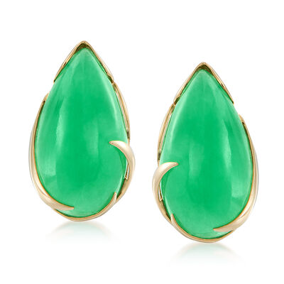 Pear-Shaped Green Jadeite Jade Cabochon Earrings in 14kt Yellow Gold, , default