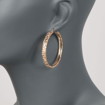 """18kt Yellow Gold Over Sterling Silver Extra Large Byzantine Hoop Earrings. 1 7/8"""", , default"""