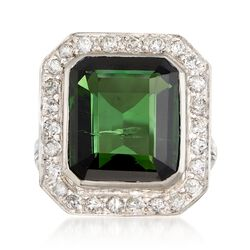 C. 1960 Vintage 9.35 Carat Green Tourmaline and .80 ct. t.w. Diamond Frame Ring in Platinum. Size 6, , default