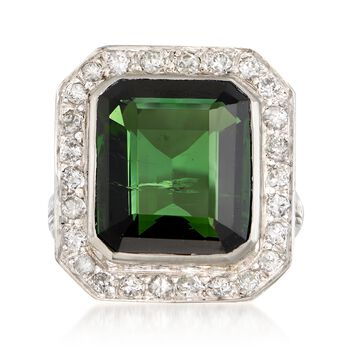 C. 1960 Vintage 9.35 Carat Green Tourmaline and .80 ct. t.w. Diamond Frame Ring in Platinum. Size 6, , default