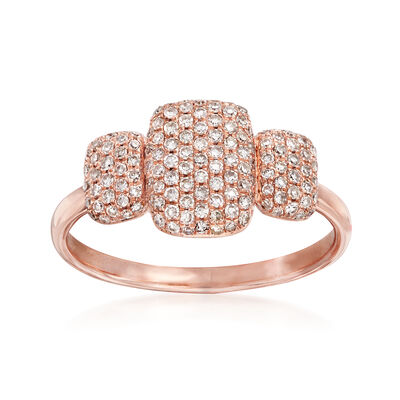 .44 ct. t.w. Pave Diamond Three Square-Top Ring in 14kt Rose Gold
