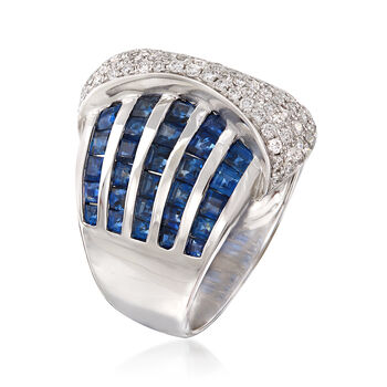 4.20 ct. t.w. Sapphire and .63 ct. t.w. Diamond Multi-Row Ring in 18kt White Gold, , default