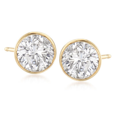 2.00 ct. t.w. Bezel-Set Diamond Stud Earrings in 14kt Yellow Gold, , default