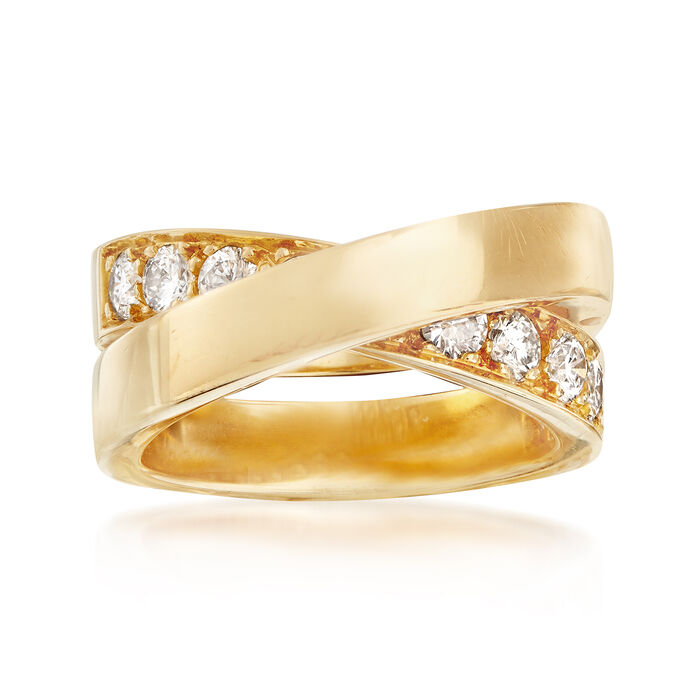 C. 1999 Vintage Cartier 1.00 ct. t.w. Diamond Crisscross Ring in 18kt Yellow Gold. Size 6, , default