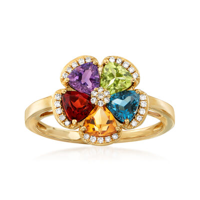 1.80 ct. t.w. Multi-Gemstone and .10 ct. t.w. Diamond Flower Ring in 14kt Yellow Gold, , default