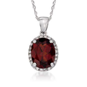 "2.00 Carat Garnet Pendant Necklace With Diamonds in 14kt White Gold. 18"", , default"