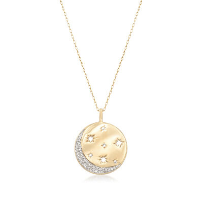 .10 ct. t.w. Diamond Moon and Star Disc Pendant Necklace in 18kt Gold Over Sterling, , default