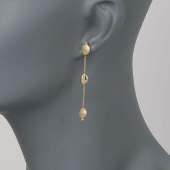 14kt Yellow Gold Linear Pebble Station Earrings, , default