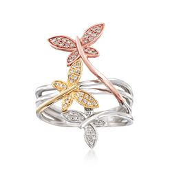 .20 ct. t.w. Diamond Butterfly Ring in 14kt Tri-Colored Gold, , default
