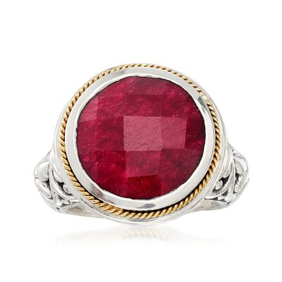 Balinese 15.00 Carat Ruby Ring in 14kt Yellow Gold and Sterling Silver