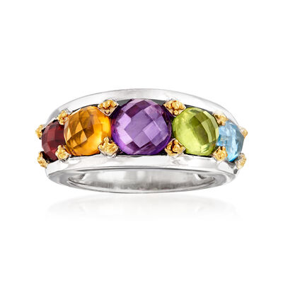 6.20 ct. t.w. Multi-Gemstone Ring in Sterling Silver and 18kt Gold Over Sterling, , default